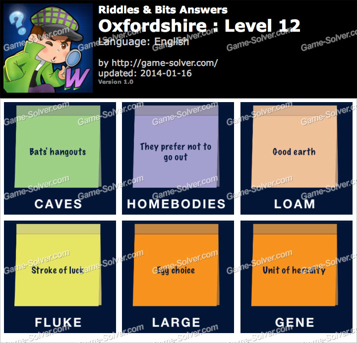Riddles and Bits Oxfordshire Level 12