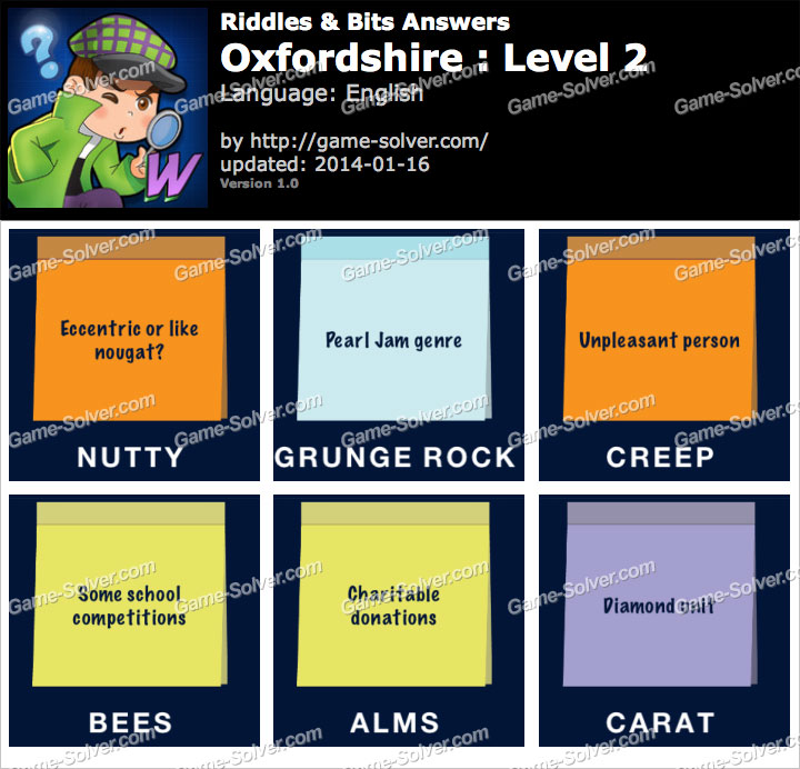Riddles and Bits Oxfordshire Level 2