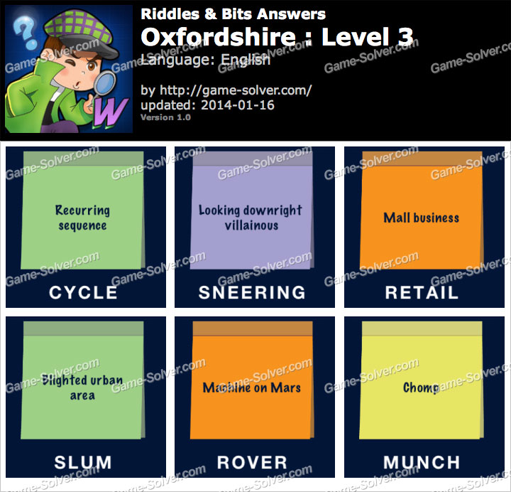 Riddles and Bits Oxfordshire Level 3