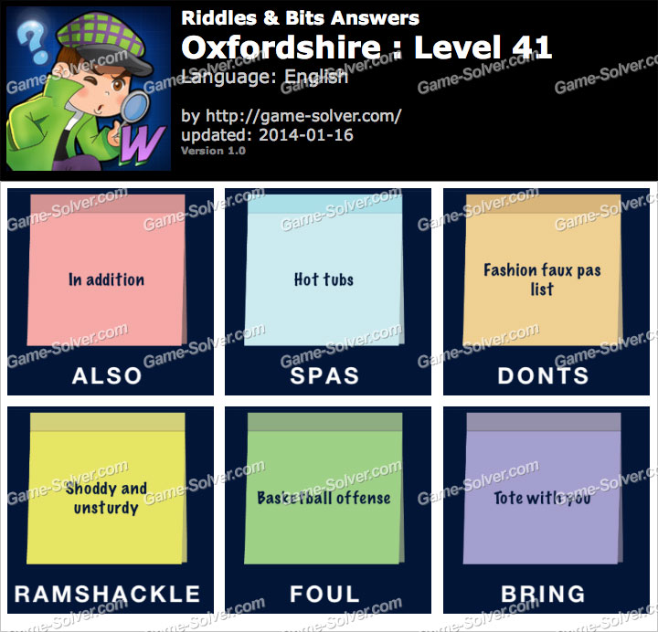 Riddles and Bits Oxfordshire Level 41