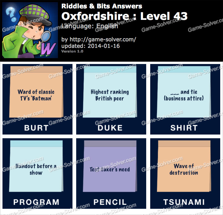 Riddles and Bits Oxfordshire Level 43