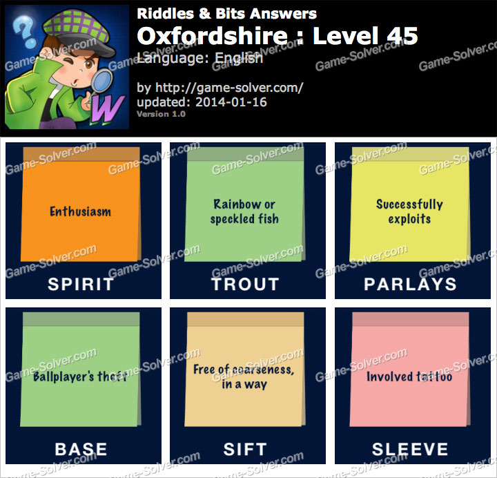 Riddles and Bits Oxfordshire Level 45