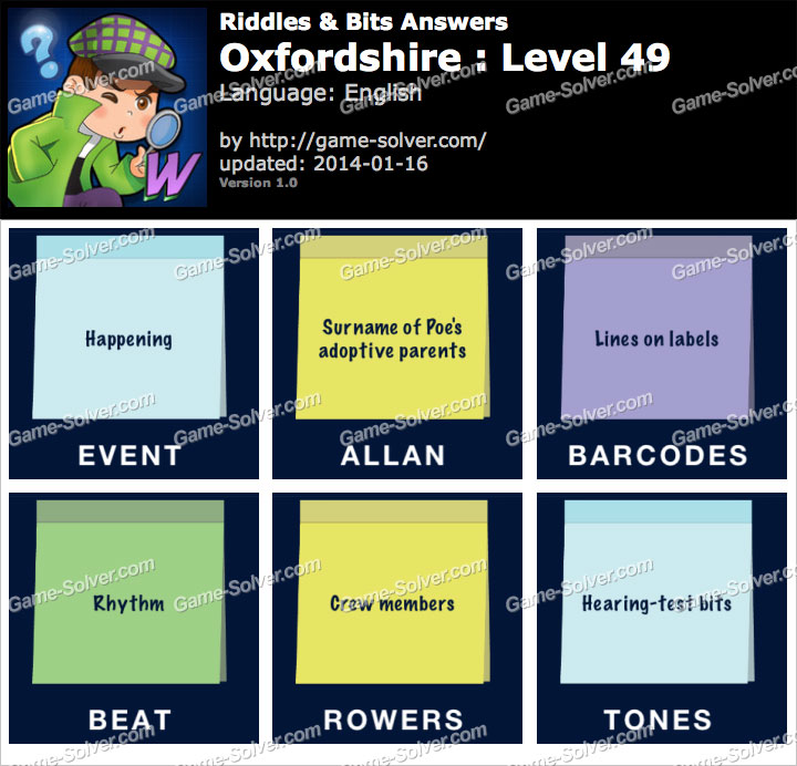 Riddles and Bits Oxfordshire Level 49