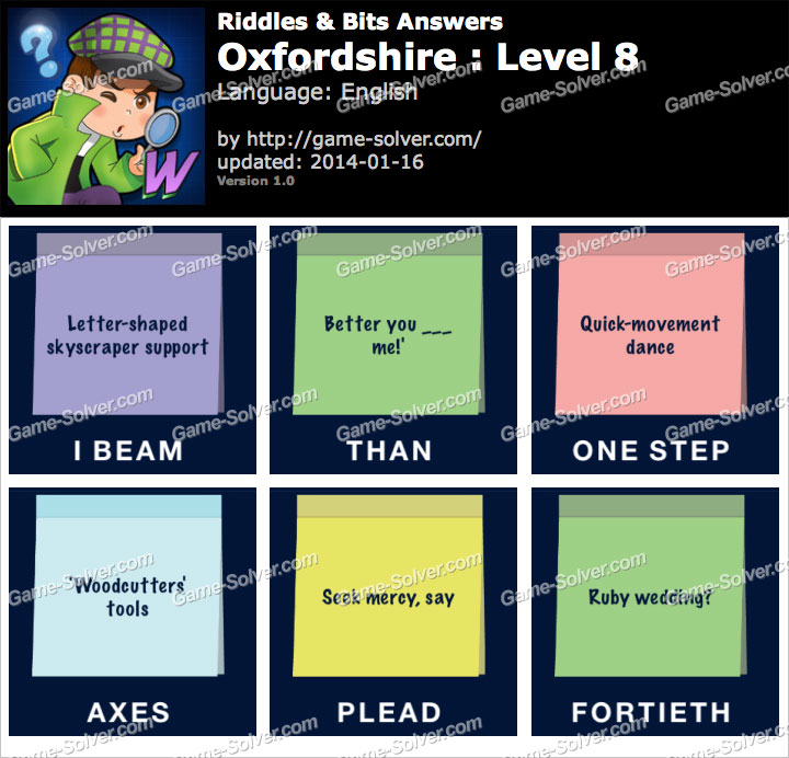 Riddles and Bits Oxfordshire Level 8