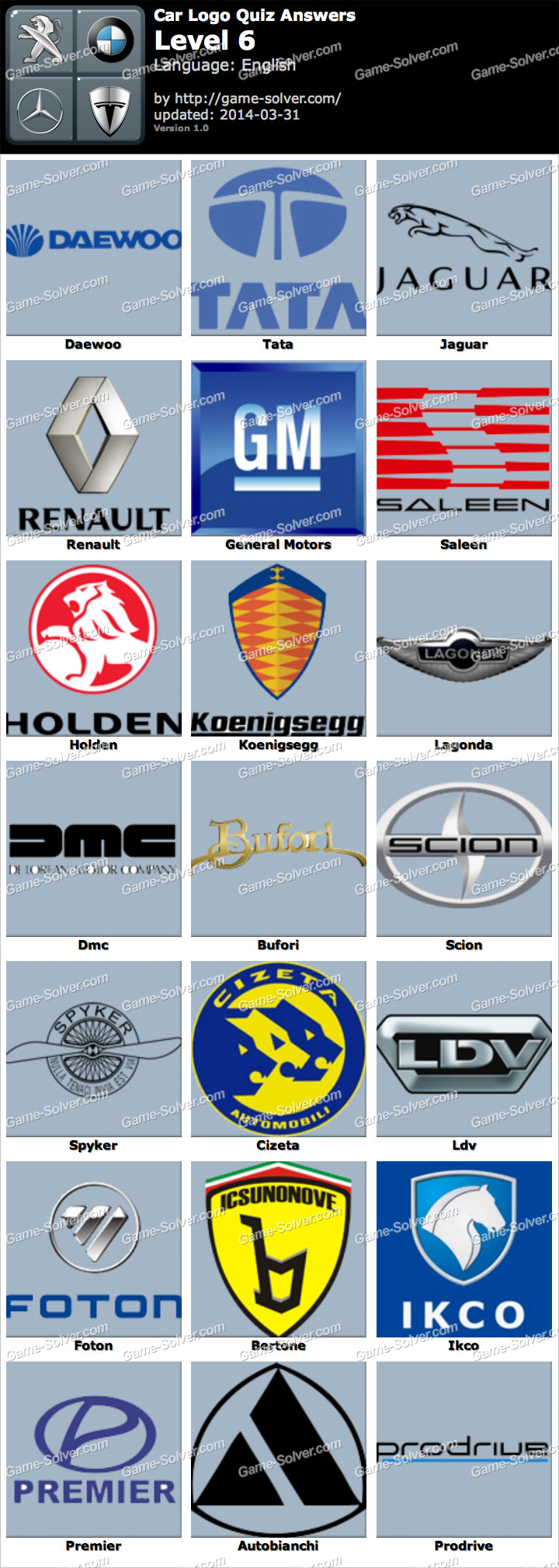 Car Logo Quiz Level 6 - Game Solver