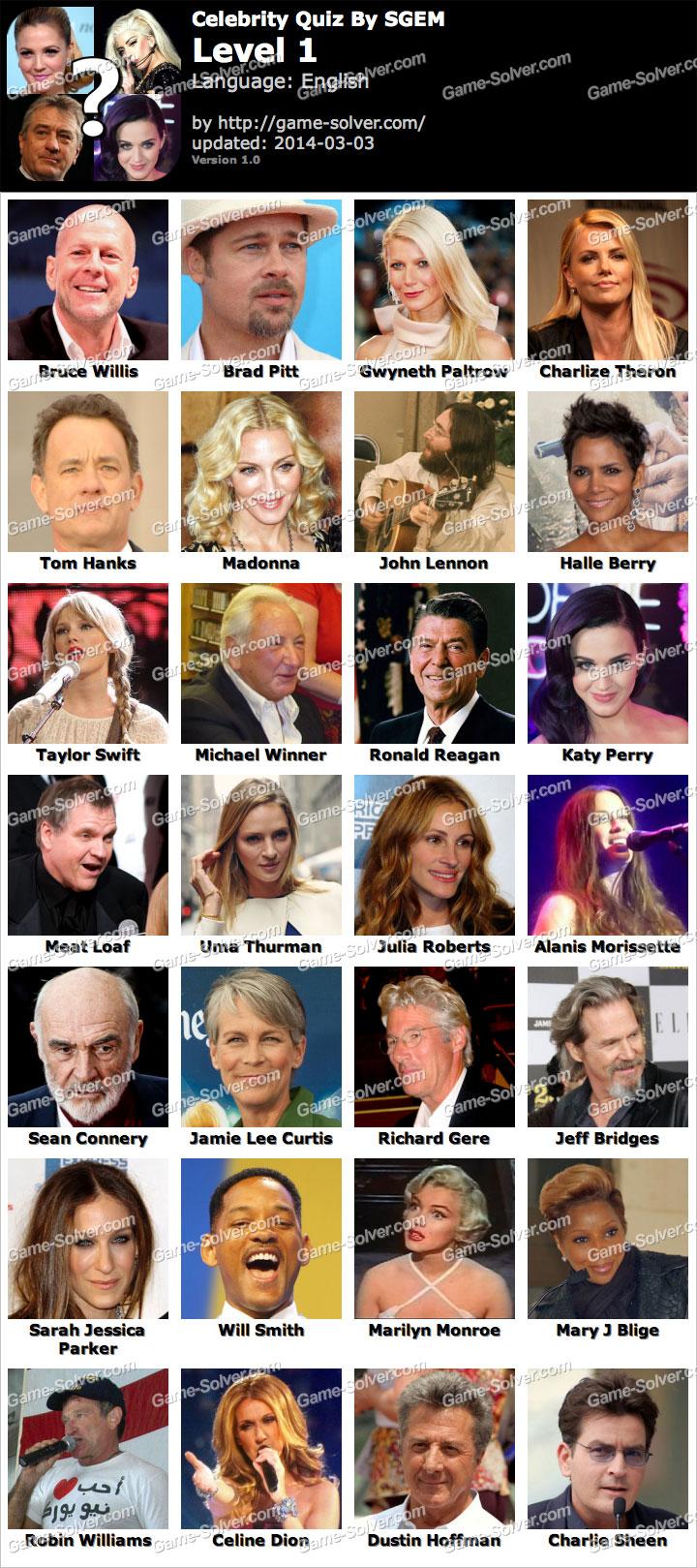Celebrity Quiz by SGEM Level 1