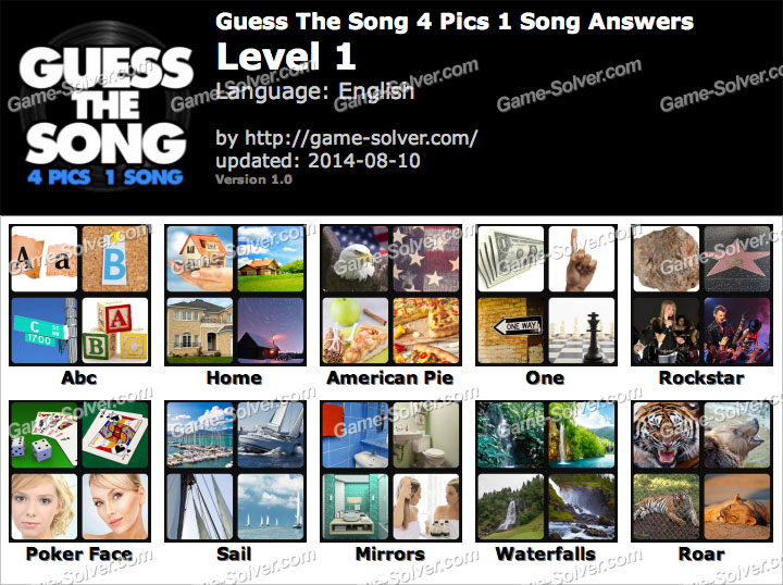 Guess The Song 4 Pics 1 Song Answers - Game Solver