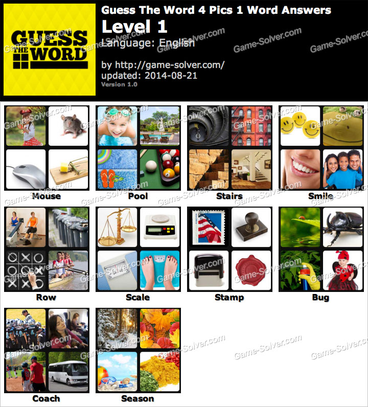 Guess The Word 4 Pics 1 Word Level 1