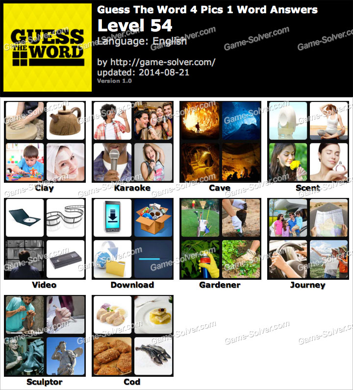 Guess The Word 4 Pics 1 Word Level 54