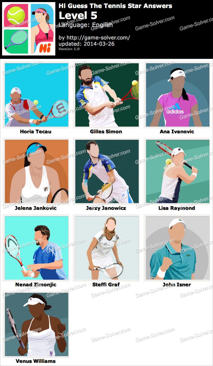 Hi Guess The Tennis Star Level 5