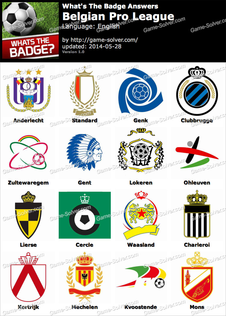 Whats The Badge Belgian Pro League Answers