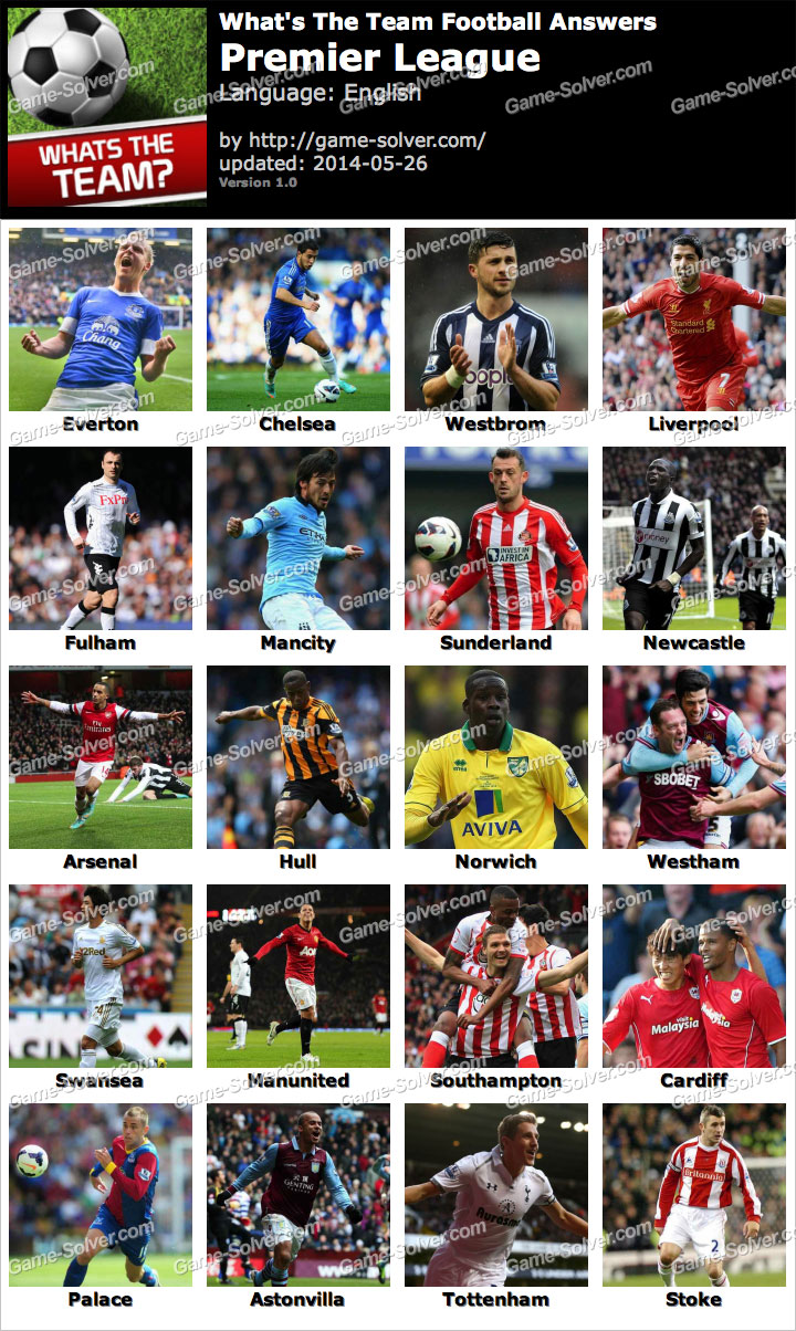 What's The Team Premier League Answers