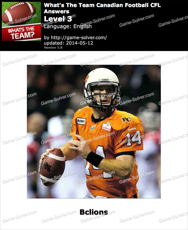 What's The Team Canadian Football CFL Level 3