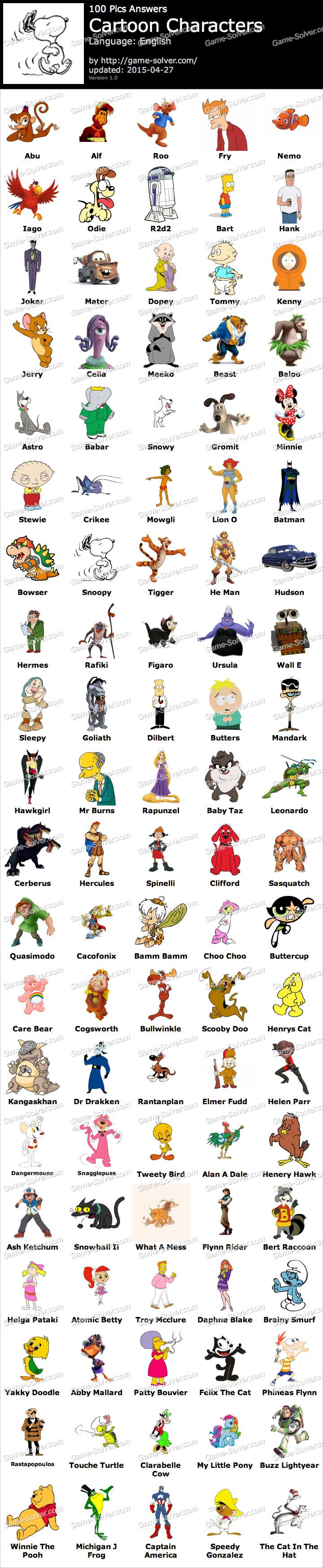 100 Pics Cartoon Characters