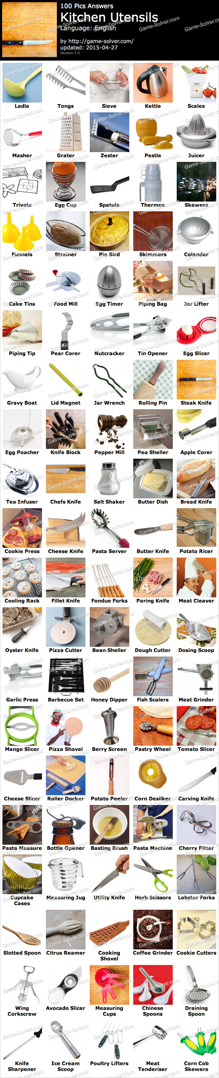 100 Pics Kitchen Utensils - Game Solver