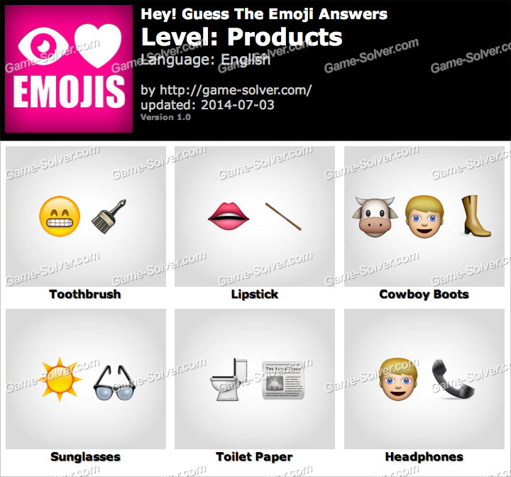 Hey Guess The Emoji Products Answers