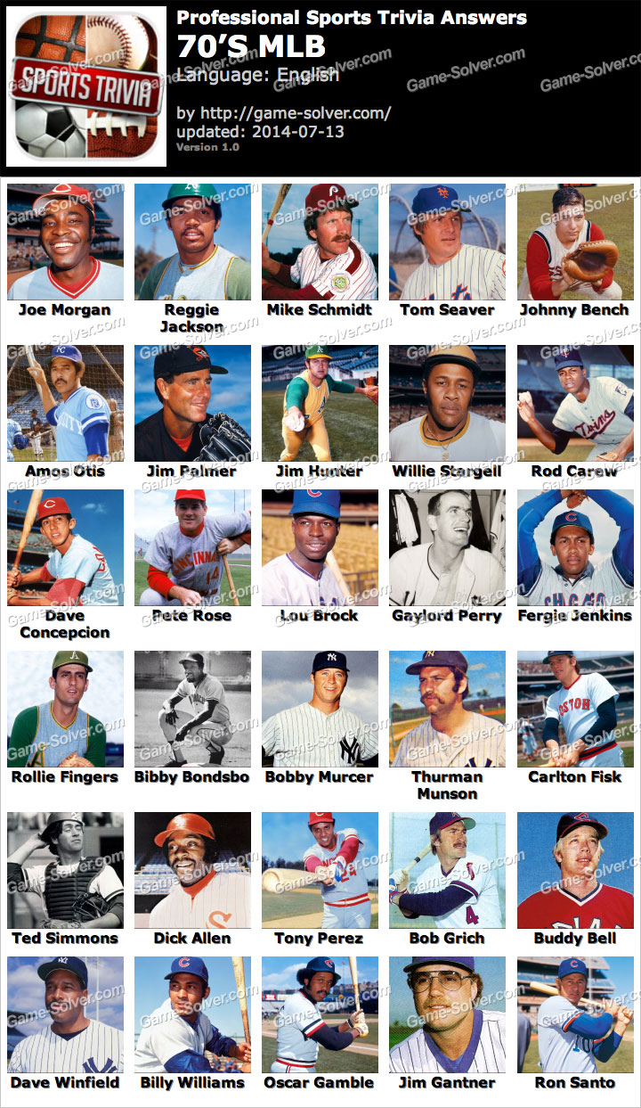 Professional Sports Trivia 70s MLB Answers
