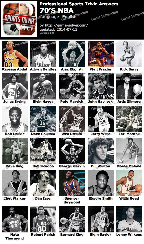 Professional Sports Trivia 70s NBA Answers