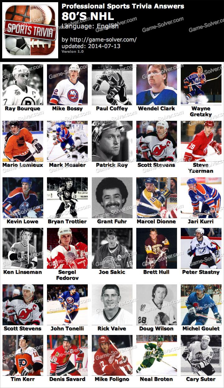 Professional Sports Trivia 80s NHL Answers