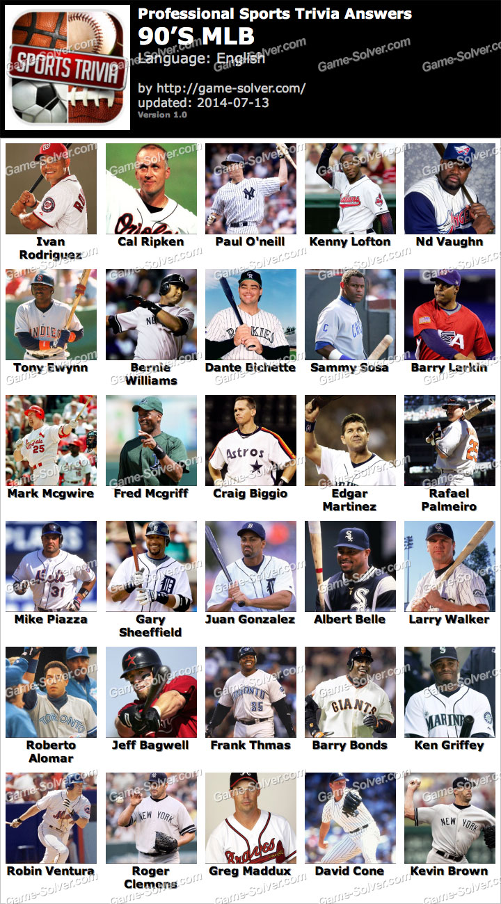 Professional Sports Trivia 90s MLB Answers