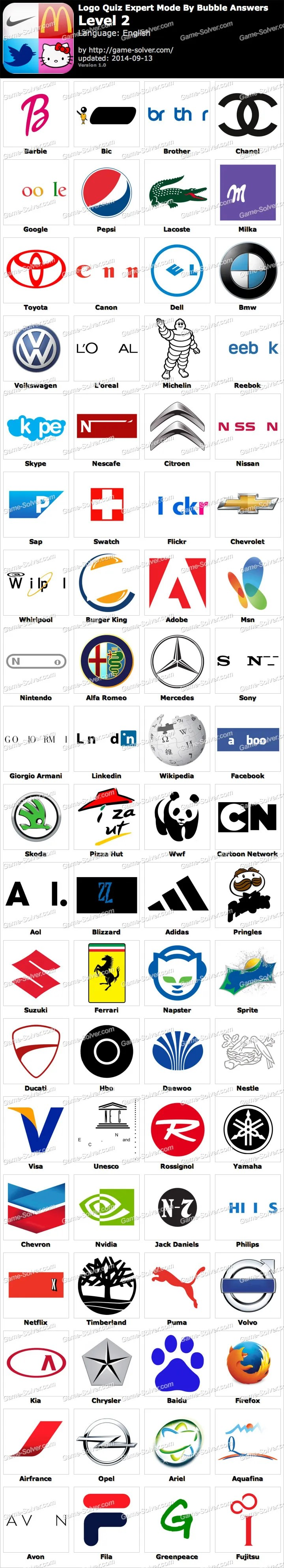 Logo Quiz Answers Level 2 : answers, level, Expert, Bubble, Level, Solver