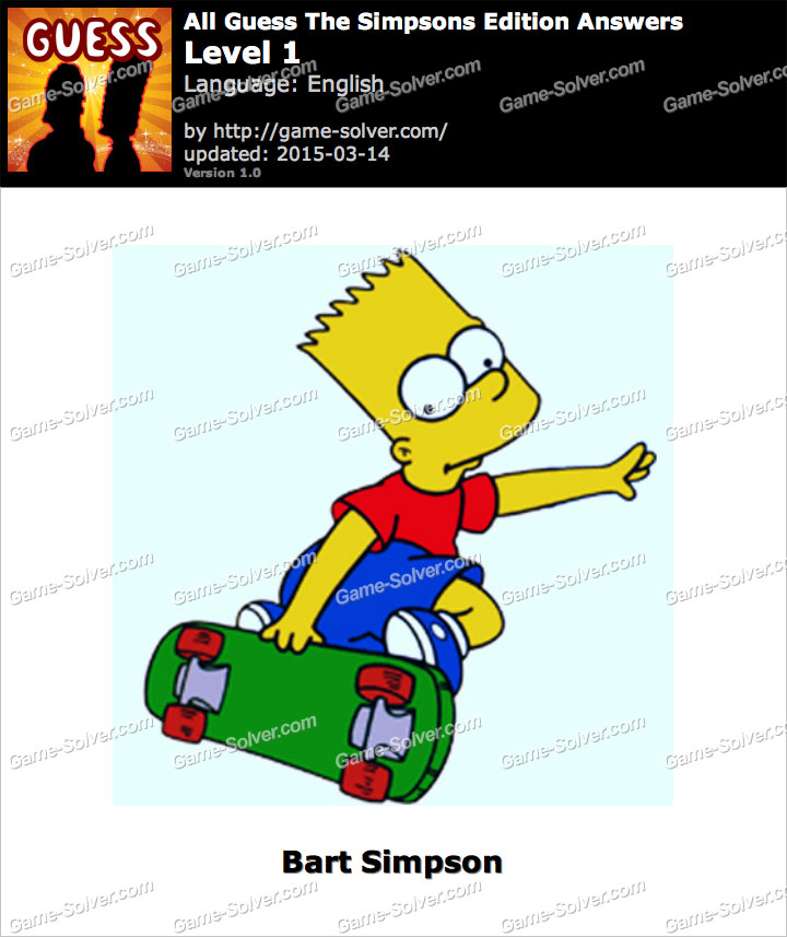 All Guess The Simpsons Edition Level 1
