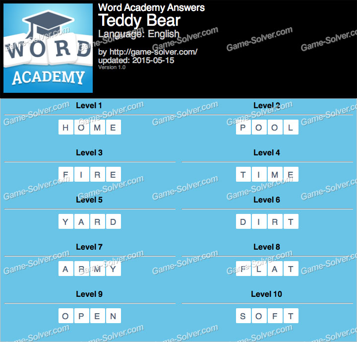 Word Academy Teddy Bear Answers
