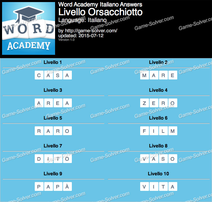 Word Academy Italiano Orsacchiotto Answers