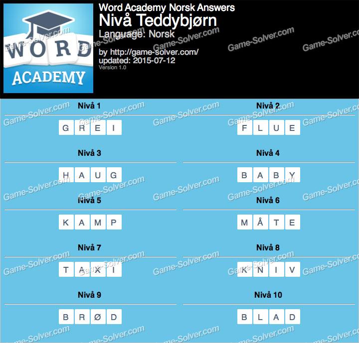 Word Academy Norsk Teddybjørn Answers