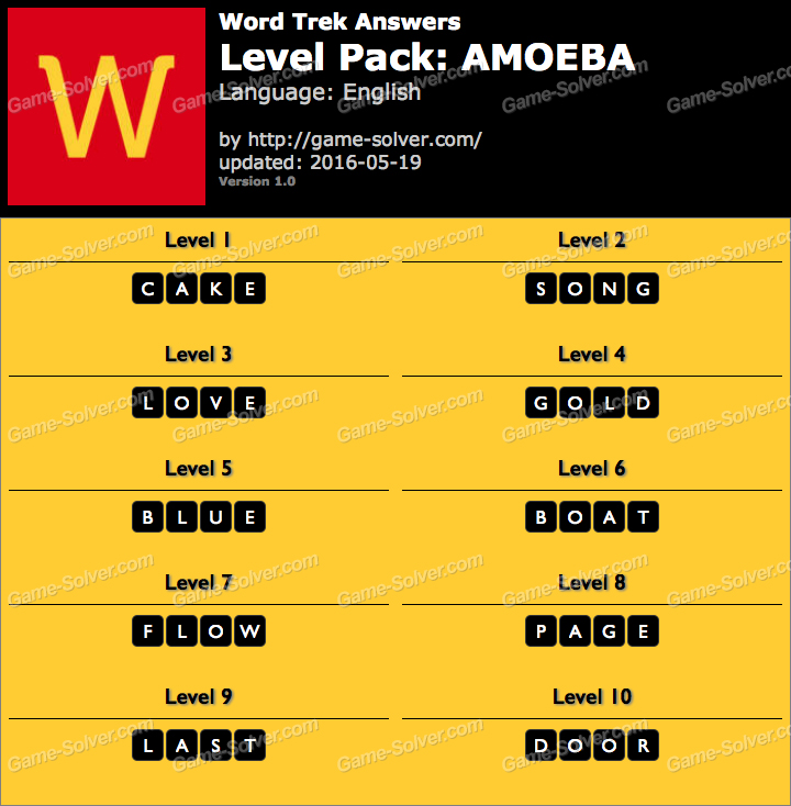 Word Trek Level Pack 1 AMOEBA Answers
