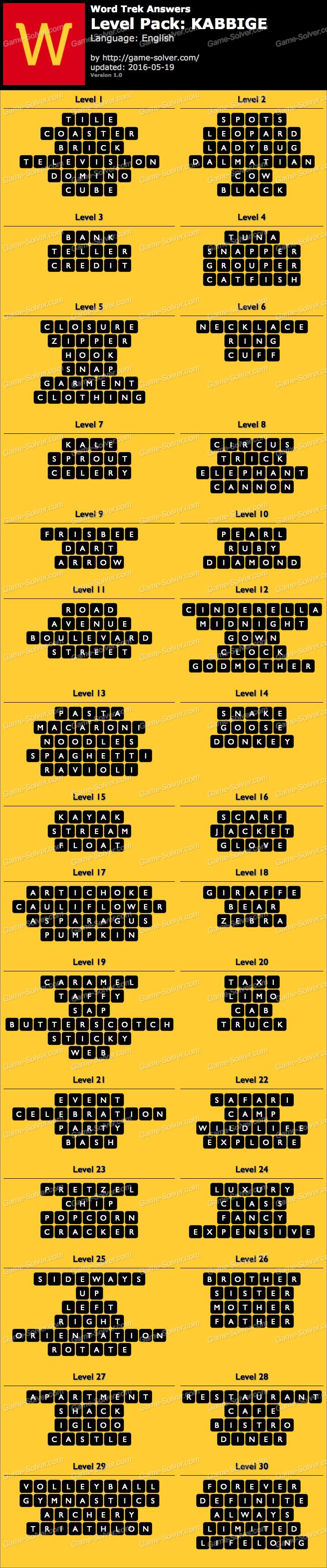 Word Trek Level Pack 62 KABBIGE Answers