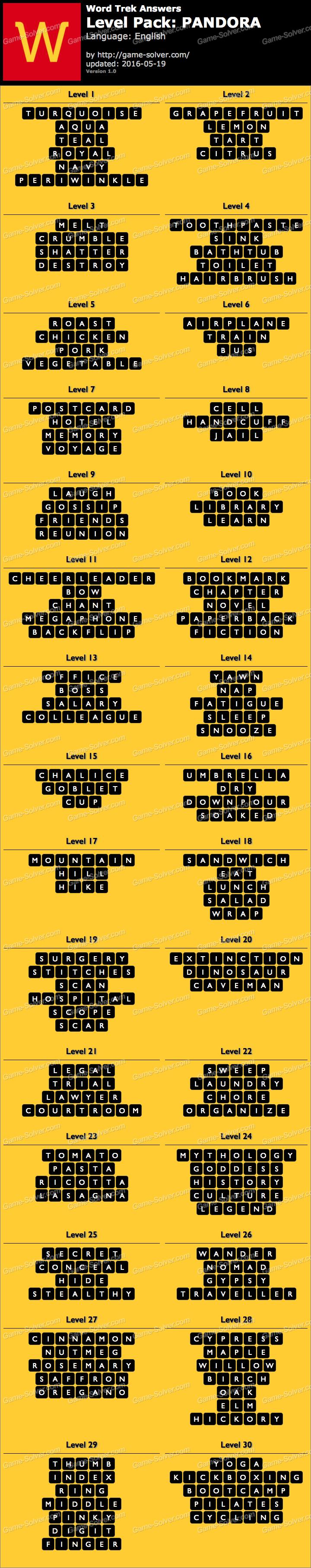 Word Trek Level Pack 68 PANDORA Answers