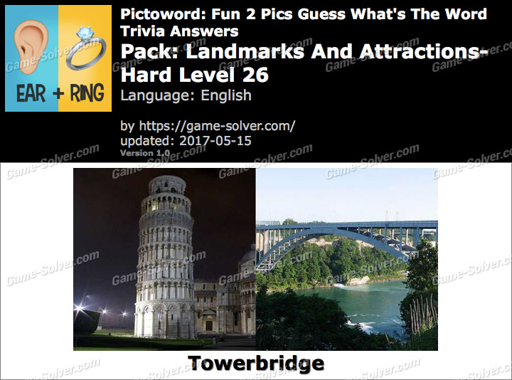 Pictoword Fun 2 Pics Landmarks And Attractions-Hard Level 26 Answers