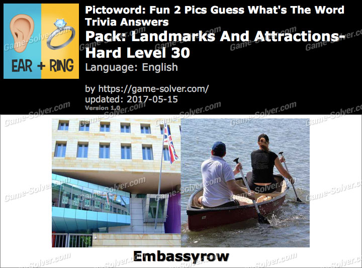 Pictoword Fun 2 Pics Landmarks And Attractions-Hard Level 30 Answers