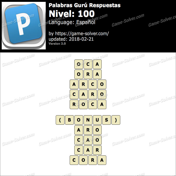 Palabras Gurú Nivel 100 Respuestas