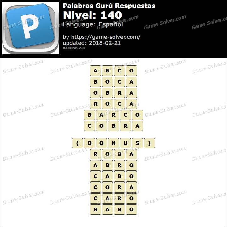 Palabras Gurú Nivel 140 Respuestas