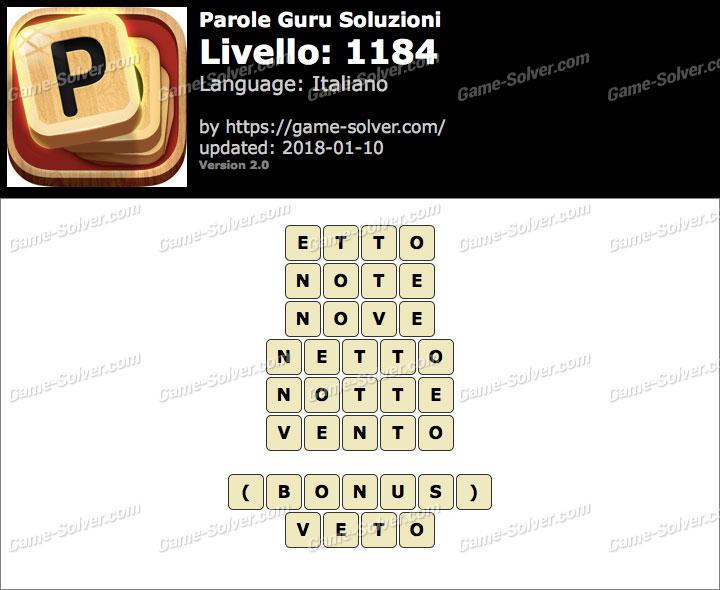 Parole Guru Livello 1184 Soluzioni