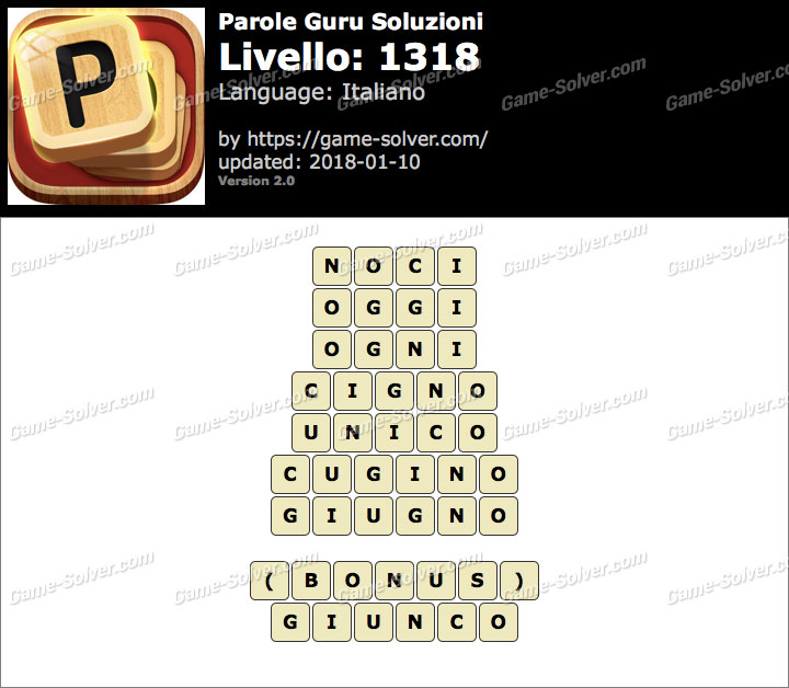 Parole Guru Livello 1318 Soluzioni