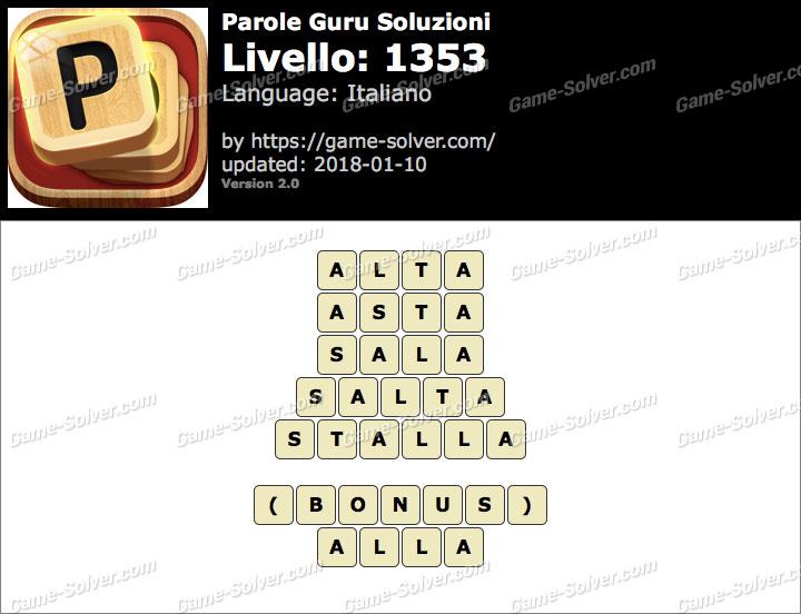 Parole Guru Livello 1353 Soluzioni