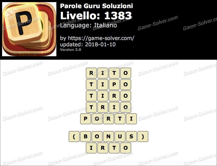 Parole Guru Livello 1383 Soluzioni