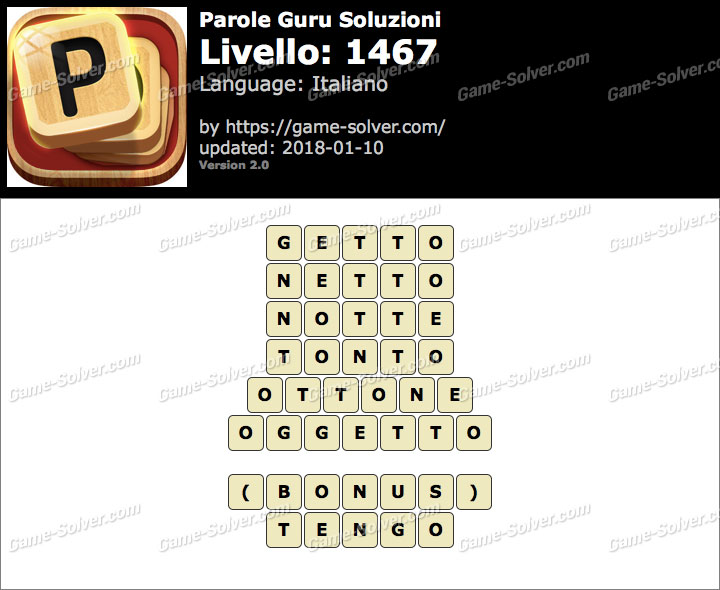 Parole Guru Livello 1467 Soluzioni