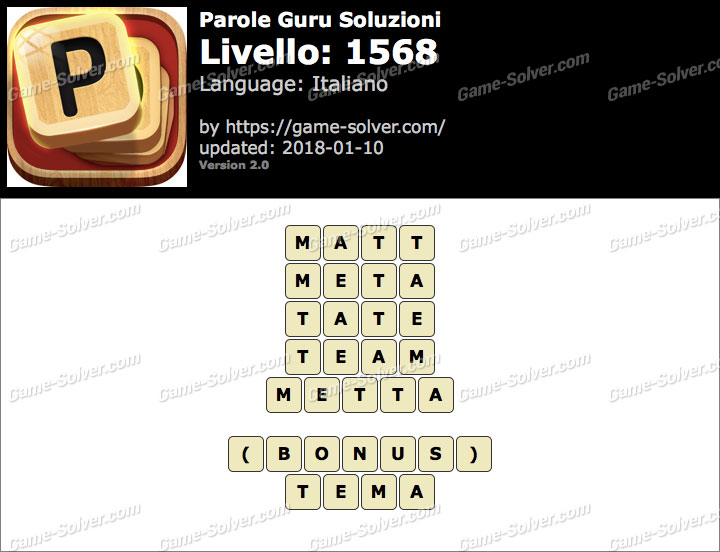 Parole Guru Livello 1568 Soluzioni
