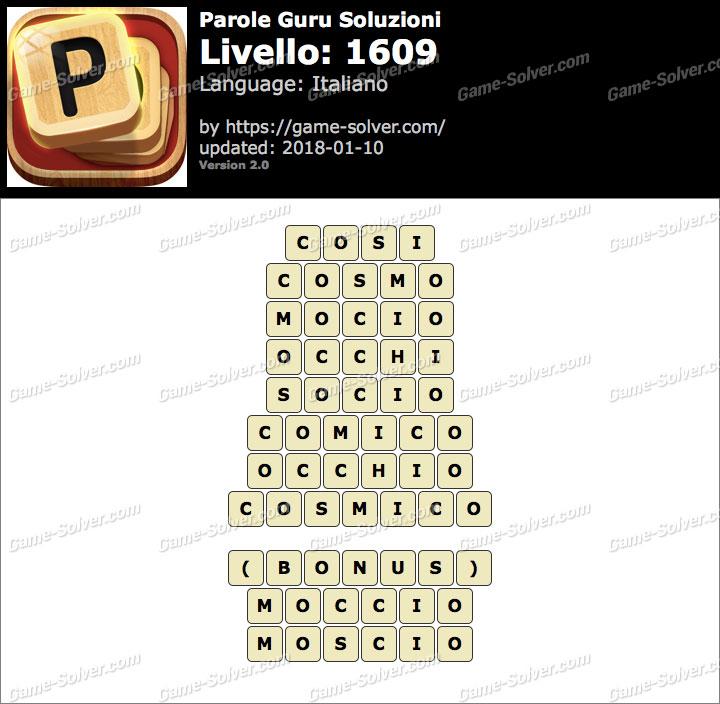 Parole Guru Livello 1609 Soluzioni