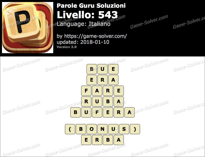 Parole Guru Livello 543 Soluzioni