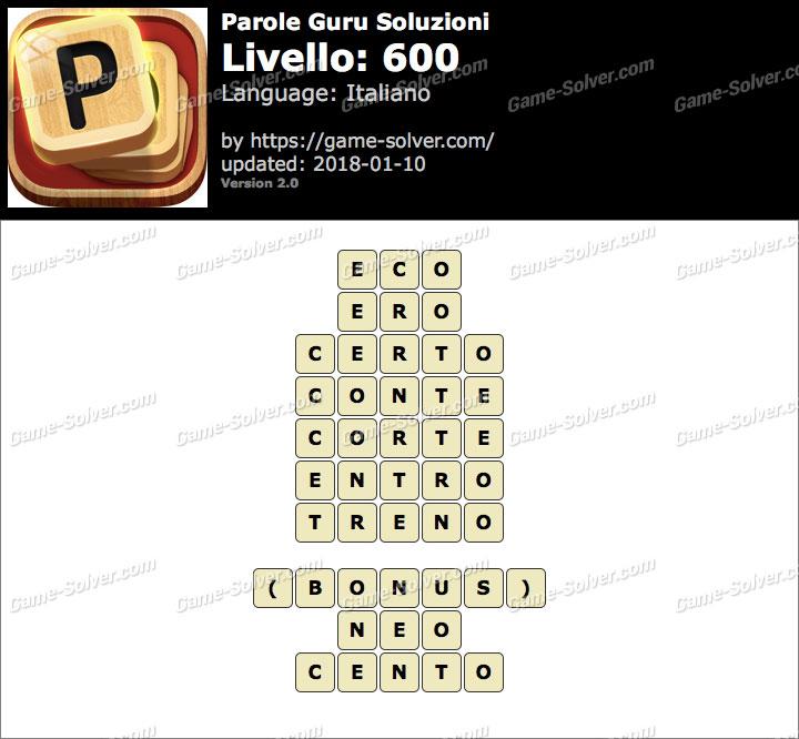 Parole Guru Livello 600 Soluzioni