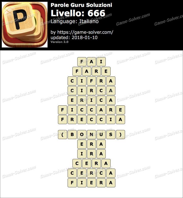 Parole Guru Livello 666 Soluzioni