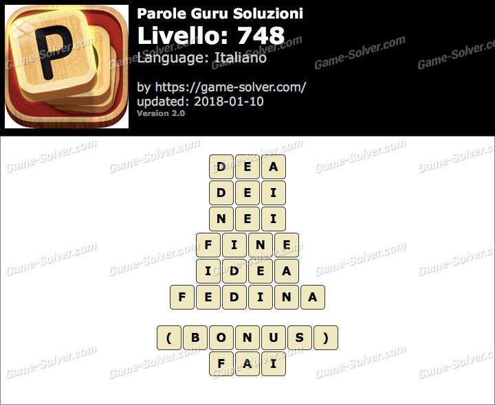Parole Guru Livello 748 Soluzioni