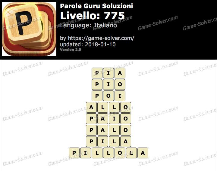 Parole Guru Livello 775 Soluzioni