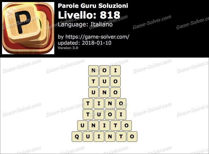 Parole Guru Livello 818 Soluzioni
