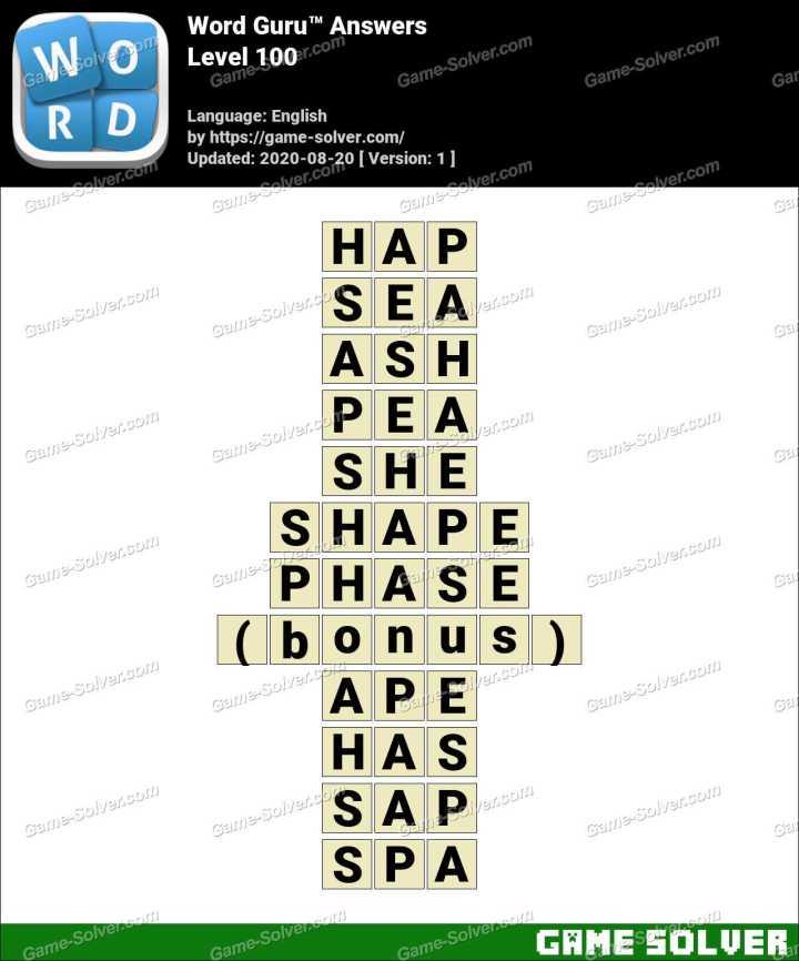 Word Guru Level 100 Answers